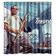 """High Quality Home Bathroom Product Print GTA5 Popular Game Grand Theft Auto V Shower Curtain Waterproof 66"""" x 72"""" by Shower Curtain [並行輸入品]"""