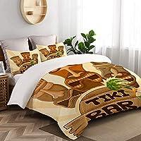 KIMDFACE 布団カバーシングル 3点セット, ベクターデザインティキバーポスター部族,肌に優しい掛けふとん+枕カバー、洋式・和式兼用ベッドカバー150x210cm