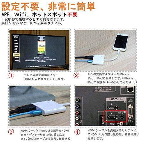 『最新バージョン 設定免除 ライトニング HDMI 変換ケーブル iPhone/iPad/iPodをテレビに出力 Lightning - Digital AVアダプタ HD 1080解像度対応 YouTubeをテレビで観れる iPhone HDMI 接続ケーブル 大画面 音声同期出力 日本語取扱説明書があり JYESOIKOO』の4枚目の画像