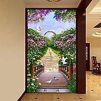 Xbwy 3Dリビングルームの入り口の壁の装飾カスタム壁画写真の壁紙庭の花道路壁紙壁画3Dの不織布の壁装材-400X280Cm