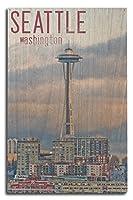 シアトル–スペースニードル、Waterfront Piers 10 x 15 Wood Sign LANT-50765-10x15W