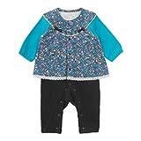 (チャックル) chuckle *スウィートガール*重ね着風小花柄チュニック長袖前開きカバーオール ブルー 80cm P2960-80-31