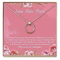 Dear Ava Galentine's Day ギフトネックレス - バレンタインデーのプレゼント - 親友、Galentine、Soul Sister、女性、2 リンクサークル