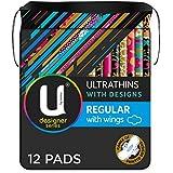 U BY KOTEX Ultrathins U By Kotex Designer Series Ultrathin Pads Regular with Wings (Pack of 12), Pack of 12 0.077 kilograms