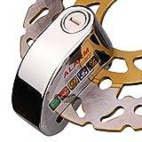バイク用ディスクロック 盗難防止アラーム付き 防水防塵仕様 メッキ仕上げ 専用バック付き FMTDF200