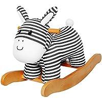 Labebe ベビー用ウッドロッキングホース 1-3歳のキッズ用木製木馬 柔らかいシート 幼児のクリエイティブな誕生日プレゼントとしてもオススメ! ASTM/CE安全認定 ストライプロバ