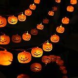 JKUNDA ハロウィン 装飾 カボチャ ledライト 飾り 電池式 20球 5m 防水 パンプキン LED イルミネーション 電飾 ハロウィンパーティー 屋外 室内 可愛いかぼちゃ おばけ ストリングライト 雑貨 ウォールバナー 照明飾 (乾電池が