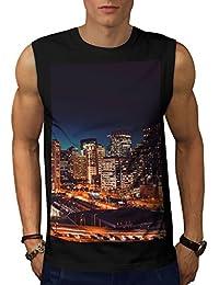 Wellcoda 夜 都市 シティ ファッション 男性用 S-5XL 袖なしTシャツ