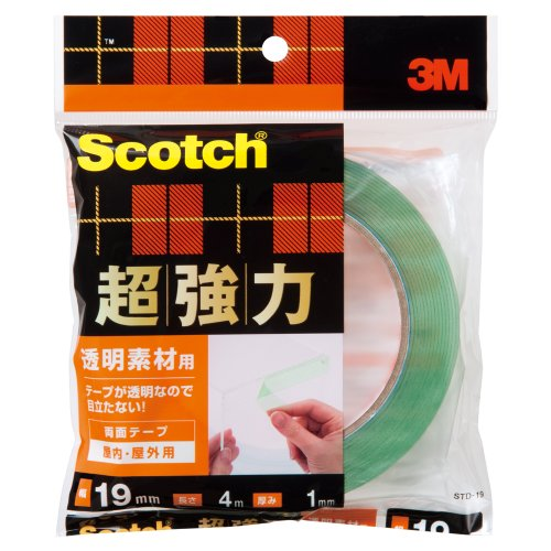 「3M」 スコッチ 超強力両面テープ 透明素材用 19mm×4m STD-19