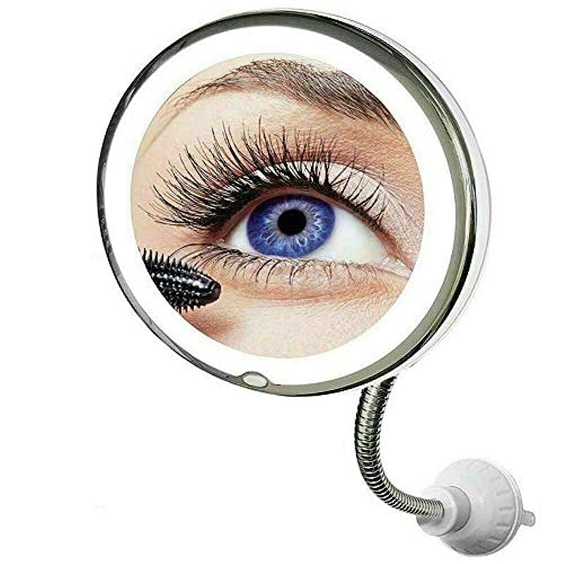 Orara beauty 化粧鏡 10倍拡大鏡付き LEDライト付き 女優ミラー 折りたたみメイク鏡 360°回転ミラー 電池式 吸盤タイプ 取り付け簡単 距離調整対応