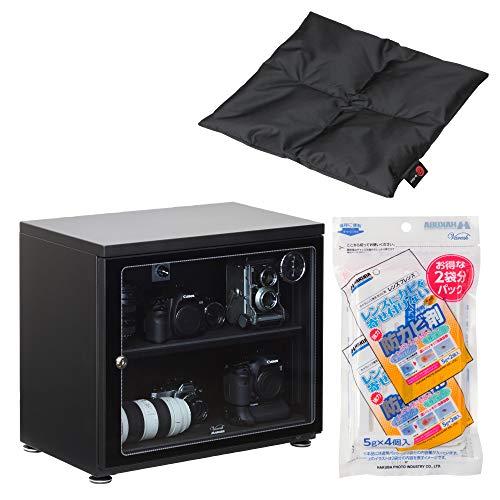 【Amazon限定ブランド】 HAKUBA 防湿庫 E-ドライボックス85リットル + カメラ ざ・ぶとん(ブラック) + 防カビ剤セット