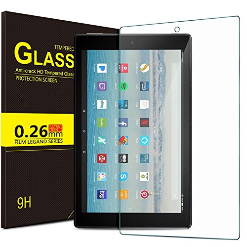 ELTD Fire HD 10 ガラスフィルム 【改良品】 New Fire HD 10 液晶保護フィルム 耐指紋 撥油性 表面硬度 9H 厚み2.5D 高透過率 反射低減タイプ 光沢表面仕様