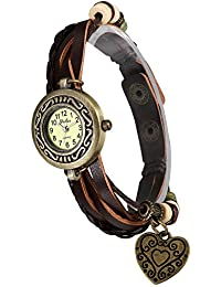 Lancardo 腕時計 レディース ブレスレット おしゃれ ハートペンダント付き 防水 アンティーク ウォッチ アナログ表示 多重編み込み レザーベルト
