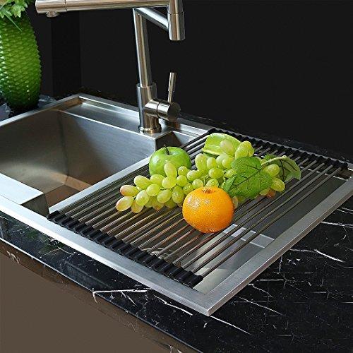 LEONC 水切りラック 折りたたみ式 ステンレス製 滑り止め 抗菌 食器かご 台所用品,乾燥ラック フルーツ 野菜 (スモール)