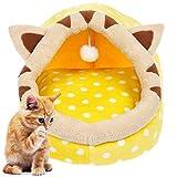EVELTEK 猫ベッド ベッド ペット ペットの巣 ペットハウス 小動物用寝床 室内 秋冬 寒さ対策 ドーム型ベッド (Mサイズ 黄色い) 猫・超小型犬・小型犬用