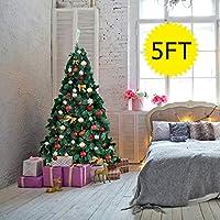 メタルスタンド付き人工的なクリスマスの伝統的な装飾が施された緑のクリスマスツリー(5Ft /1.5M)、サイズ:6Ft /1.8M、色:緑 (Color : Green, Size : 5Ft/1.5M)