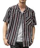 (エーエスエム) A.S.M メンズ シャツ 半袖 ポリエステル ストレッチ マルチストライプ オープンカラー シャツ 02-04-8720