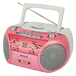 WINTECH CDラジカセ ピンク マイク入力端子 外部音声入力端子 CDR-L72P