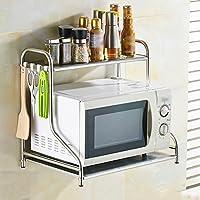PENGFEI オープンシェルフラック 電子レンジ用オーブンラックステンレス製収納棚キッチン用壁掛け多機能、2サイズ、10タイプあり 家具スパイスキッチン (色 : 2#-53cm)
