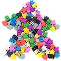 100 Assorted Wooden Meeples, Full 16mm Size, Board Game Pawn Pieces by Brybelly