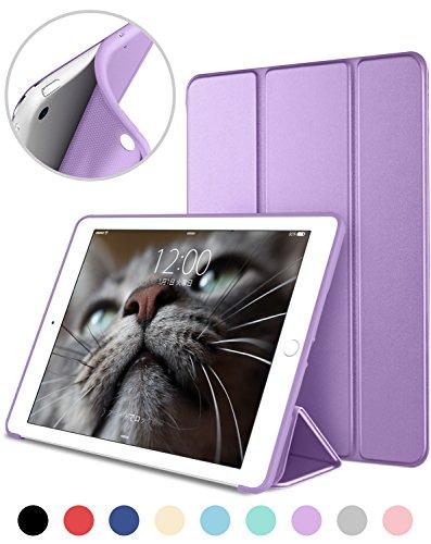 DTTO iPad Mini 1/2/3 ケース 超薄型 超軽量 TPU ソフト PUレザー スマートカバー 三つ折り スタンド スマートキーボード対応 キズ防止 指紋防止 [オート スリープ/スリー プ解除] クローブパープル
