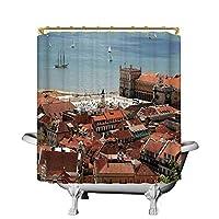 街並みの便利なシャワーカーテン、屋根と海の旧市街のあるポルトガルの中央リスボンの眺め、リビングルーム用のノスタルジックな街のデコ、108 180X180 CM