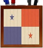 Rikki Knight Panama Flag on Distressed Wood Design 5-Inch Wooden Tile Pen Holder (RK-PH8609) [並行輸入品]