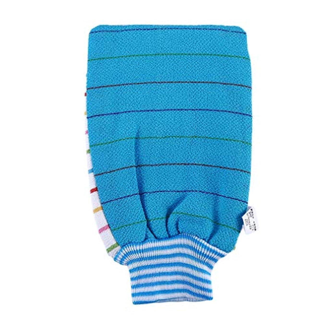 シャイちなみに形虹色蝶々 浴用手袋 ボディ手袋 ボディタオル 毛穴清潔 角質除去 入浴用品 垢すり手袋 泡立ち 男女兼用 バス用品 青色
