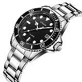 SONGDU メンズ 腕時計 ブラック文字盤 シルバーステンレスバンド アナログ 日付表示 防水 ビジネス クォーツウォッチ [並行輸入品]