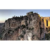 新しい橋、ロンダ、マラガ、スペイン、崖、家、夕暮れ キャンバスの 写真 ポスター 印刷 旅行 風景 景色 - (105cmx70cm)