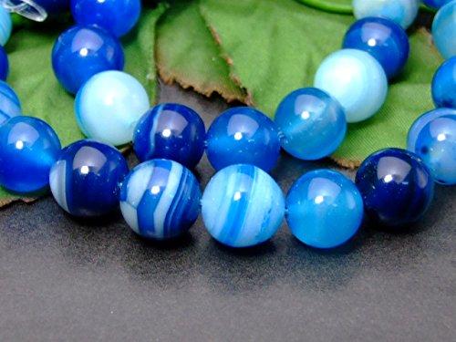 g3-983C 10mm ブルー縞 瑪瑙 メノウ 青 ブルー ストライプ アゲート 1連38cm ブラジル産 天然石 パワーストーン