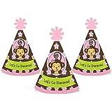 Monkey Girl – Mini円錐ベビーシャワーまたは誕生日パーティー帽子 – スモールLittle Party Hats – 10のセット