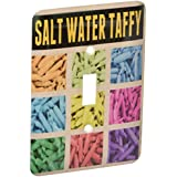 3dRose LLC lsp_120321_1 Salt Water Taffy Whimsical Graphic Design of Salt Water Taffy Candy in a Colorful Grid Single Toggle Switch [並行輸入品]