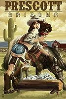 Prescott、Arizona–Cowgirlピンナップ 9 x 12 Art Print LANT-50937-9x12