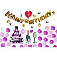 【hikom.hikom】誕生日 バルーン セット 飾り フォトプロップス 空気入れ付き Birthday balloons wish Photo Props