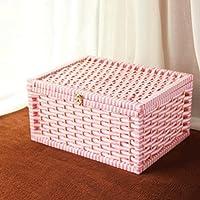 WTL かご?バスケット 紙籐収納ボックスボックス蓋付き収納ボックス (色 : D, サイズ さいず : 大 だい)