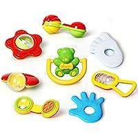 QD-BYM ベビー おもちゃ セット 3ヶ月から 赤ちゃん ガラガラ 手の鳴らす鈴 振るおもちゃ 知育玩具 聴覚に刺激 初めてのオモチャ 8PCS