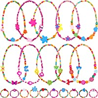 Bememo 10 Pieces Colorful Wooden Jewelry Collections Little Girl Party Favor Princess Necklace Bracelet Set (Style 2)