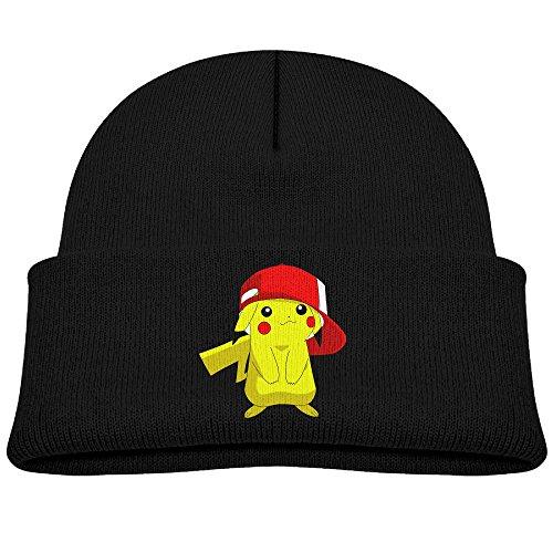 子PokemonヒップホップPikachuビーニーキャップ冬...