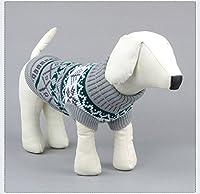 Kismaple 可愛い ペット洋服 犬猫用 防寒 秋冬服 ドッグウェア お洒落 セーター 暖かい 小型犬 中型犬 (XL背部の長さ:33-34cm, グレー)