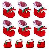 Happyyoo クリスマスブーツ お菓子入り 10個セット 長靴 サンタブーツ キャンディ靴 お菓子 子供 かわいい プレゼント 靴 サンタ袋  オーナメント クリスマス飾り インテリア レッド