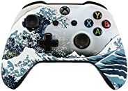 eXtremeRate The Great Wave Patterned Faceplate Front Housing Shell with Soft Touch Grip for Microsoft Xbox One