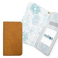mitas MEDIAS LTE N-04D ケース 手帳型 内側プリント (115) 花 ブルー 外側ブラウン RB-2172-BU-BR/N-04D
