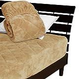 一体型 ベッドパッド ボックスシーツ を一体にした新商品 毛布生地で製造 メーカー直販 とろけるような肌触りふわふわ 一体型ボックスシーツ キング 200×200×30cm キャメル