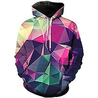 Cosplaysky Unisex Geometric Designs Printed Hoodie Big Pocket Pullover Sweatshirt