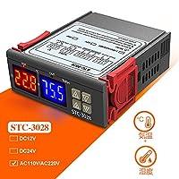 DiyStudio デジタル 温度調節器 湿度調節器 AC 110V-220V 110V 220V STC-3028 センサー付き 温度コントローラ ダブルプローブ -55℃~+120℃