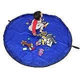 おもちゃストレージバッグ、60インチ折りたたみ式子供の遊びマット床アクティビティマット大床Playbagおもちゃオーガナイザークイックpouch-perfectの保存、持ち運びに簡単、頑丈な WJSND-BL