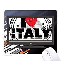 私はイタリア愛心円切手の愛の言葉 ノンスリップラバーマウスパッドはコンピュータゲームのオフィス
