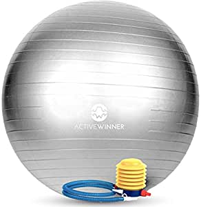 Active Winner バランスボール 65cm シルバー ポンプ付き! ヨガボール ダイエット アンチバースト仕様   Active Winner(アクティブウィナー)   バランスボール 通販