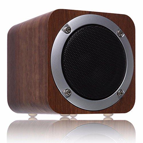ZENBRE F3木製Bluetooth4.0スピーカー 高音質ウッドスピーカー【USB充電、FMラジオ、SDメモリカード】(ブラッククルミ)